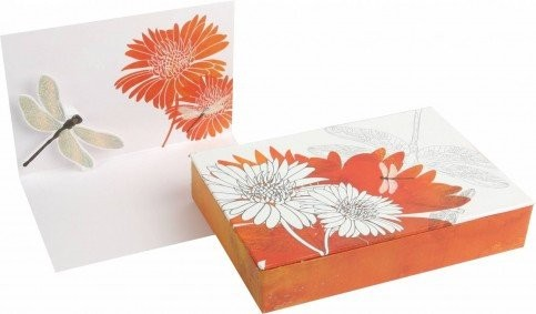 Dragonfly and Dahlia Boxed Note Cards