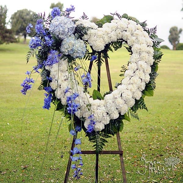 Blue Horizon Heart by Green Hills Mortuary Florist Rancho Palos Verdes