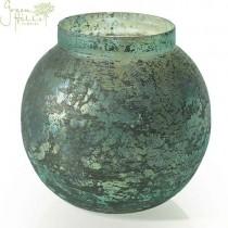 Blue Textured Glass Candleholder Vase
