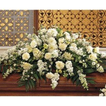 White Casket Spray by Green Hills Florist