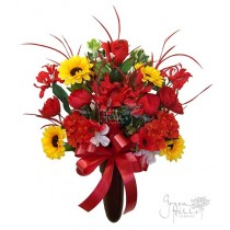 Silk Flower Bouquet for Mausoleum in Red and coordinating shades by Green Hills Flower Shop.