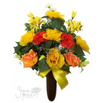 Silk Mausoleum Bouquet Yellow by Green Hills Flower Shop