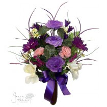 Silk Flower Bouquet for Mausoleum in Purple and coordinating shades by Green Hills Flower Shop