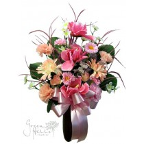 Silk Flower Bouquet for Mausoleum in Pink and coordinating shades by Green Hills Flower Shop