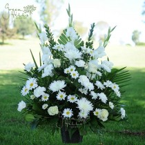 White Sympathy Funeral Tribute Arrangement Green Hills Florist