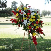Vivid color spray funeral sympathy tribute flower Rancho Palos Verdes, CA