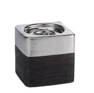 "Terra Square Candle Holder 4"": Silver & Black"