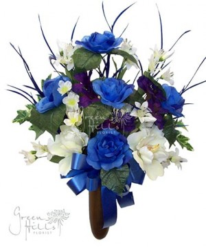 Silk Flower Bouquet for Mausoleum in Blue and coordinating shades by Green Hills Flower Shop