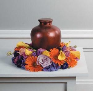 Delicate Orange Urn Memorial Arr.