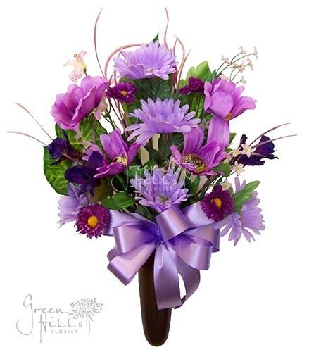 Silk Mausoleum Bouquet Lavender by Green Hills Flower Shop
