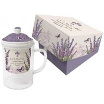 La Lavande, Glass Mug with Strainer, Microwaveable, New in Gift Box