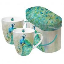 Peacock Royale 2-Mug Set in Gift Box