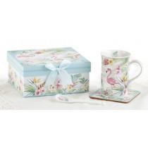 Flamingo Mug Coaster Spoon Set