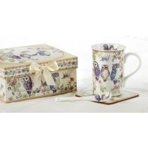 Blue Owl mug coaster spoon set