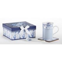 English Blue Mug Coaster Spoon Set