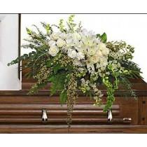 Casket spray funeral flowers by Green Hills Flowers Rancho Palos Verdes