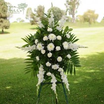 White Traditional Funeral Spray by Green Hills Florist Rancho Palos Verdes